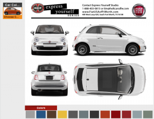 This is what the Fiat customizer will look like on the site.